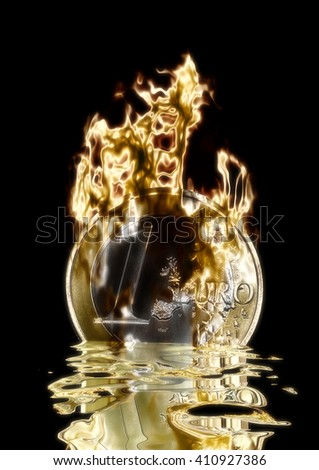 3D Illustration; 3D Rendering of a burning Euro - stock photo