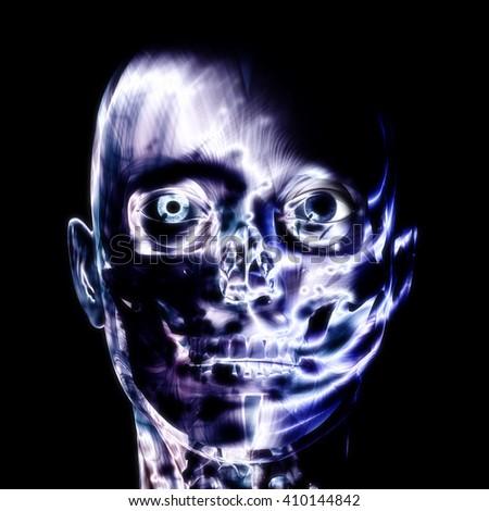 3D illustration, 3d Rendering of a human Skull - stock photo
