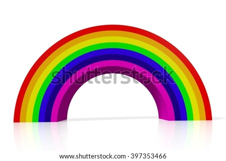3D illustration/ 3D rendering - rainbow concept - great for topics like decoration for kids or gay rights. - stock photo