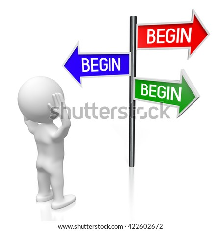 3D illustration/ 3D rendering - signpost with three arrows - begin concept - stock photo