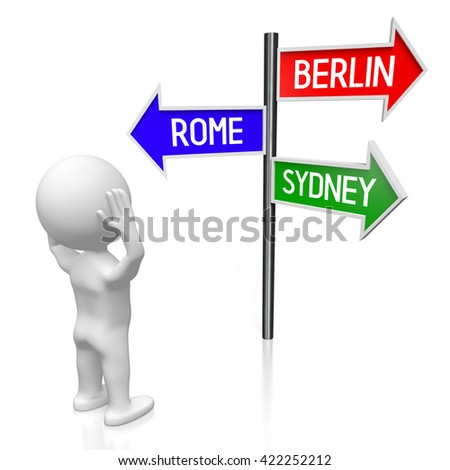 3D illustration/ 3D rendering - signpost with three arrows - captal cities concept - stock photo