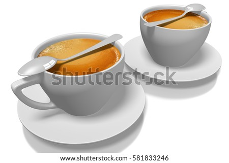 3D illustration/ 3D rendering - two coffee cups with spoons.
