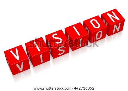 3D illustration/ 3D rendering - Vision - 3D cube word - stock photo