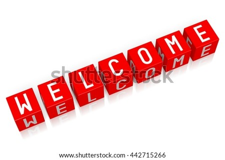 3D illustration/ 3D rendering - Welcome - 3D cube word - stock photo