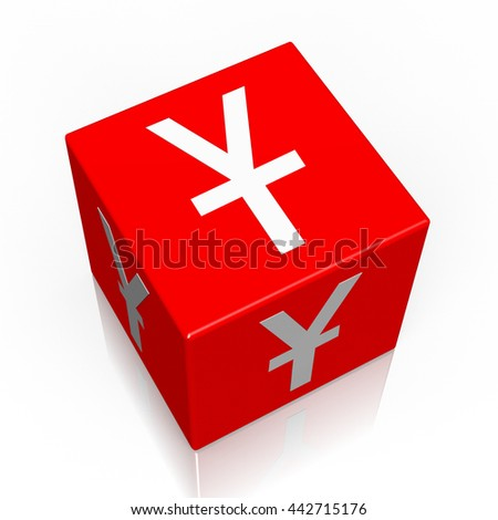3D illustration/ 3D rendering - Yen currency sign - 3D cube word - stock photo