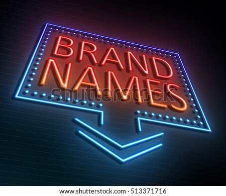 3d Illustration depicting an illuminated neon sign with a brand names concept.
