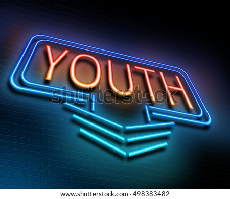 3d Illustration depicting an illuminated neon sign with a youth concept.