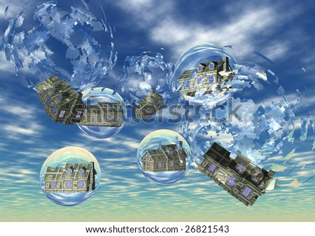 3D illustration depicting  floating houses in bubbles (concept: housing bubble) - stock photo