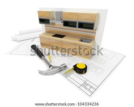 3d illustration: Designing, sozdinie, design furniture for the kitchen. Kitchen set tools. - stock photo