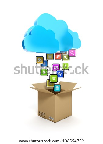 3d illustration: Downloading mobile icons. A blue cloud and a box with icons on a white background - stock photo
