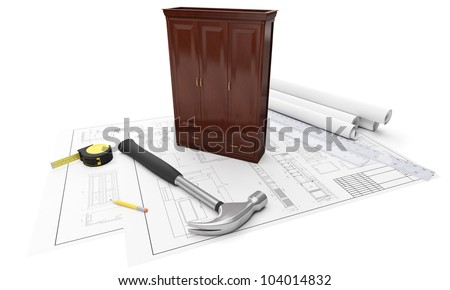 3d illustration: Drawings of furniture, cabinets, tape measure, ruler, hammer. Construction and manufacturing of furniture - stock photo