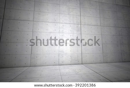 3D illustration, Empty concrete architecture room with tilted viewpoint.
