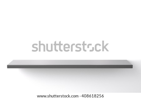 3D illustration , Empty gray shelves on white background with down-light - stock photo