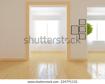 3d illustration empty interior