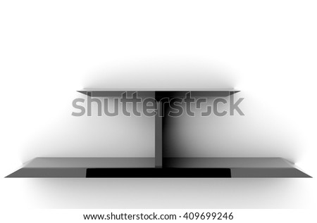 3D illustration, Empty modern black shelves on background, shelves top ready for product display montage - stock photo
