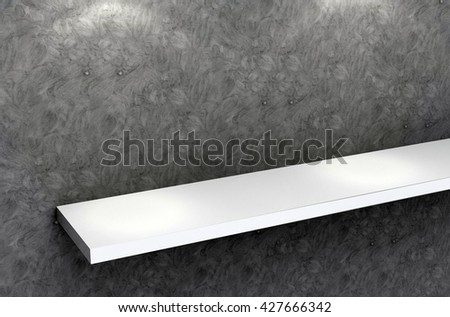 3D illustration , Empty white shelves on black background with downlight,empty shelves top ready for product display montage  - stock photo
