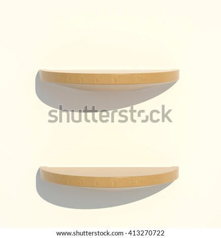3D illustration , Empty wood shelves on white background,empty shelves top ready for product display montage  - stock photo