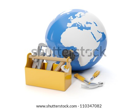 3d illustration: Environmental protection. Model of the earth and a tool box - stock photo