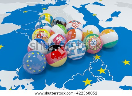 3d illustration - eu flags on eu map - stock photo