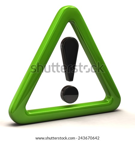 3d illustration exclamation sign in green triangle - stock photo