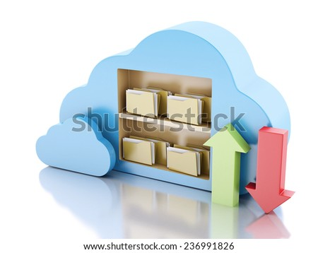 3d illustration. File storage in cloud. Cloud computing concept on white bakcground - stock photo