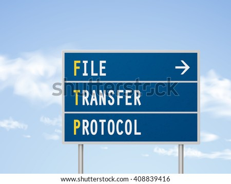3d illustration file transfer protocol road sign isolated on blue sky