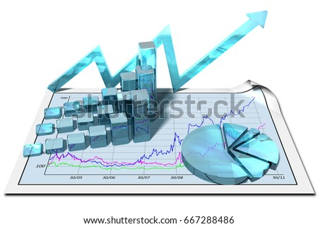 3D illustration. Financial growth chart. Abstract on white background.