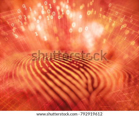3D illustration. Fingerprint with explosion of binary codes, unauthorized access by hacker.