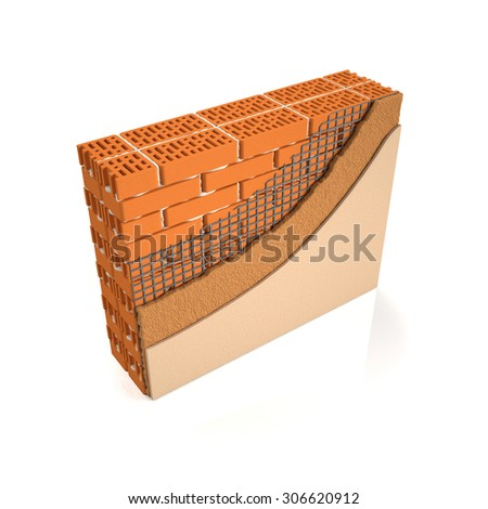 3d illustration. Finishing brick wall plaster, wall construction manual
