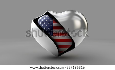 3d Illustration Flag of the USA in the abstract heart