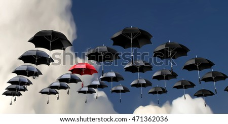 3d illustration flying umbrellas over cloudy sky background