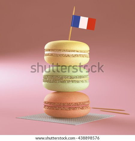 3D illustration. French macaroons, stacked with the French flag on top.
