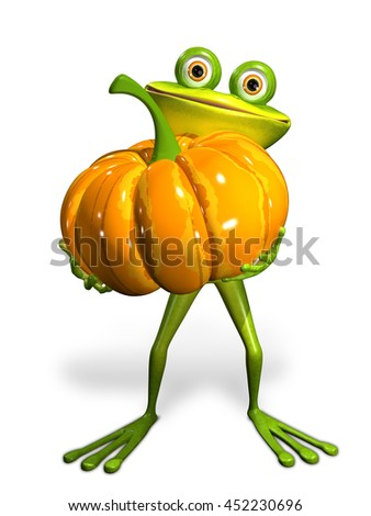 3d Illustration frog with a pumpkin on a white background - stock photo