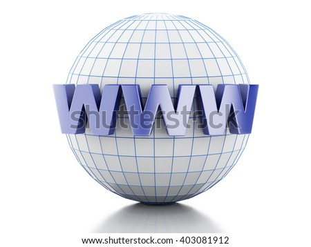 3D Illustration. Globe with text www. Internet media concept. Isolated white background. - stock photo