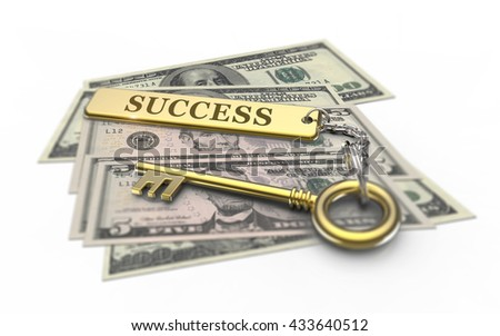 3D Illustration, Golden key to success and riches. Successful solutions in business. - stock photo