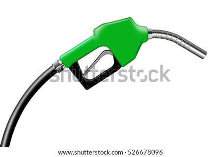 3D illustration green fuel nozzle on a white background