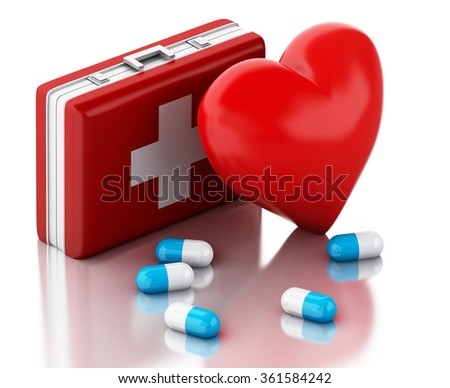 3d illustration. Heart, pills and First Aid Kit. Medicine concept. Isolated white background