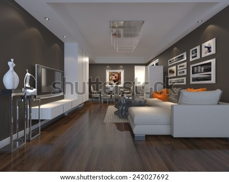 3D illustration interior design  - stock photo