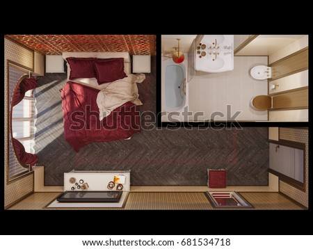 3d Illustration Interior Design Of A Master Bedroom In Traditional Islamic Style Beautiful Deluxe