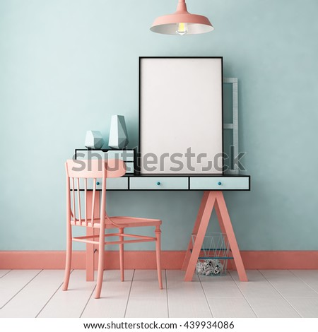 3d illustration interior. Mockup in hipster style workspace. trend color.