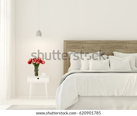 3d Illustration Interior Bedroom White Color Stock Illustration ...