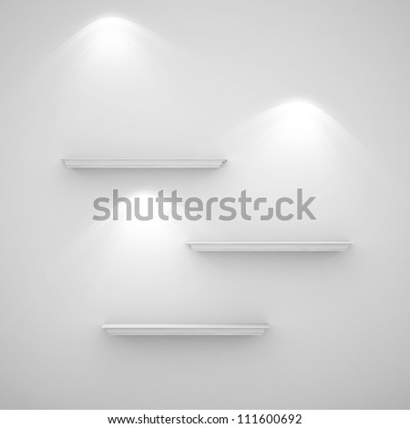 3d illustration isolated Empty shelf for exhibit - stock photo