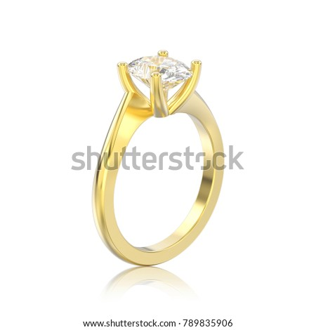 3D illustration isolated yellow gold engagement illusion twisted ring with diamond with reflection on a white background