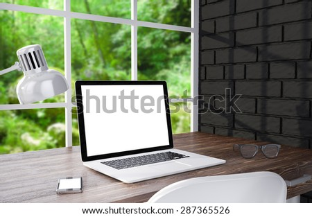 3D illustration laptop and work stuff on table near brick wall, Workspace - stock photo