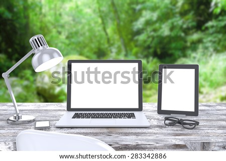 3D illustration laptop on table, Workspace - stock photo