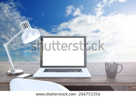 3D illustration laptop on table, Workspace on nature - stock photo