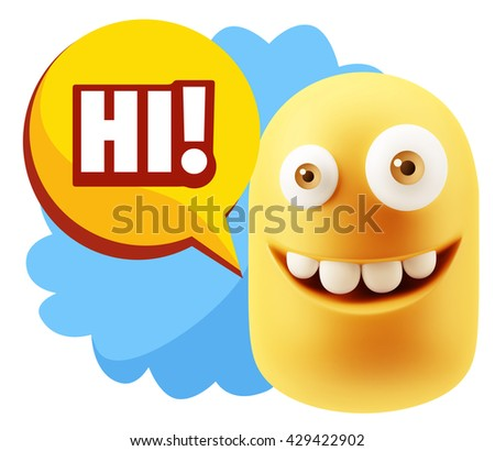 3d Illustration Laughing Character Emoji Expression saying Hi with Colorful Speech Bubble.