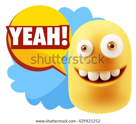 3d Illustration Laughing Character Emoji Expression saying Yeah with Colorful Speech Bubble