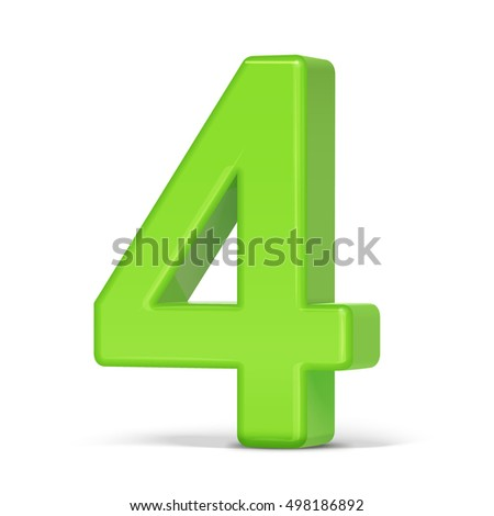 3d illustration light green number 4 isolated white background
