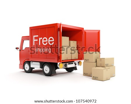 3d illustration: Loading and delivery of goods - stock photo
